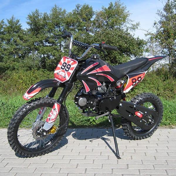 Dirt Bike 125 ccm mit den Farben Rot und Schwarz